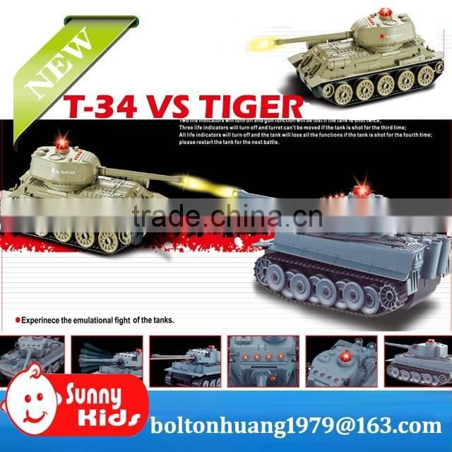 World War II T34 VS Tiger RC Tank with sound and light Battle Tank