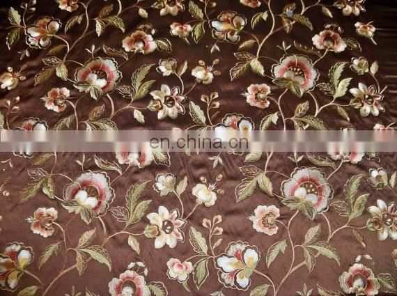 Jacobean Embroidered Satin Fabric.