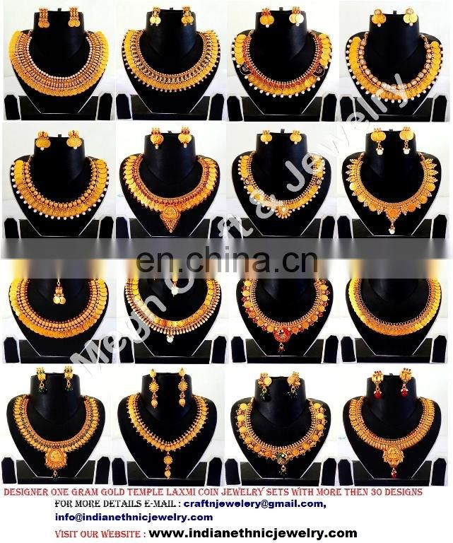 2015 NEW Wholesale Indian Ethnic one gram gold pendant sets- pearl jewelry-South indian pendant set-Drop shape pendant set