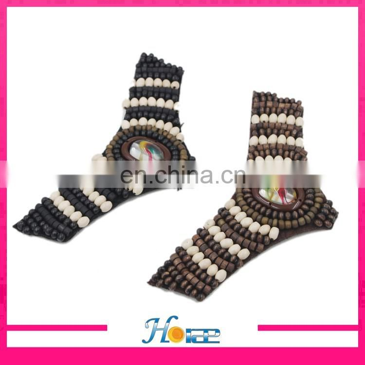 brazil style wooden beads flower decoration handmade shoe flower for sandals