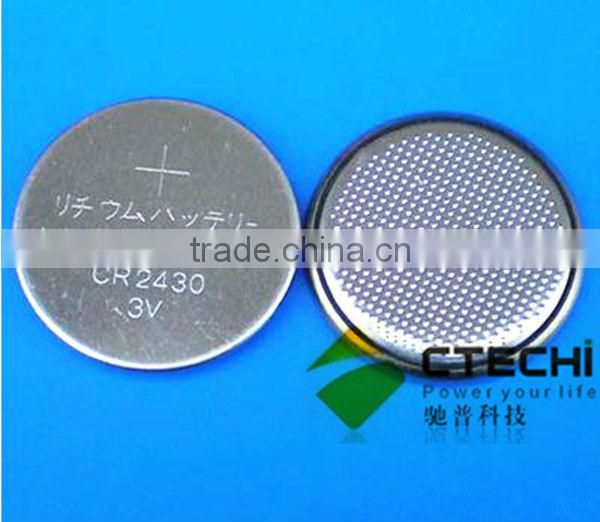 3V lithium battery CR2430 button cell with solder tags lithium battery
