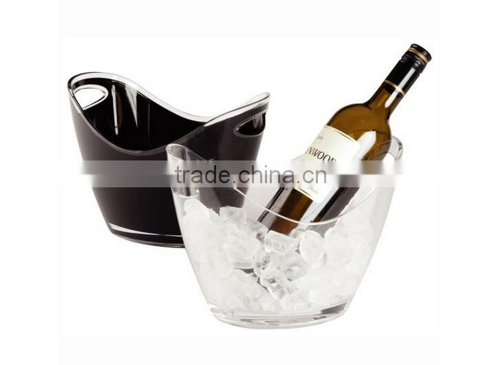 transparent High quality custom logo large wave plastic champagne ice bucket/wine ice bucket