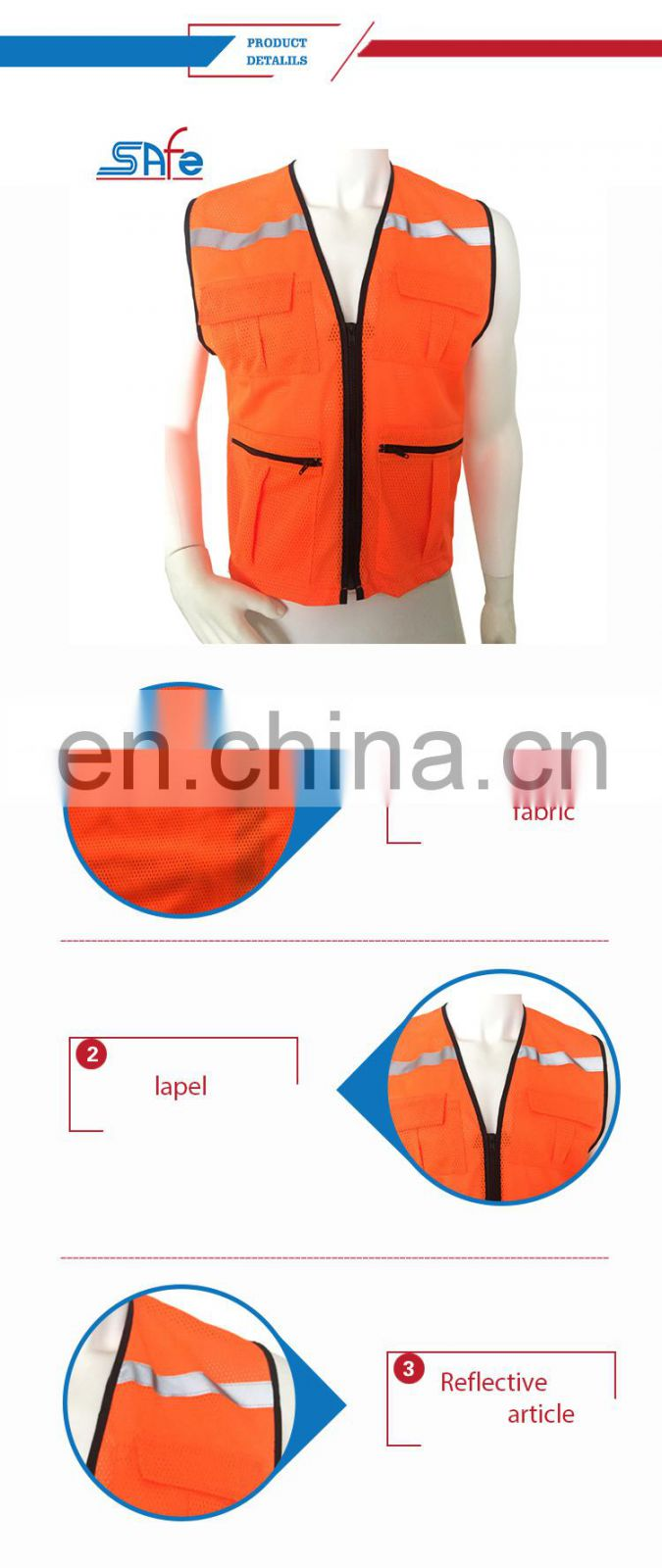 High visibility orange-red mesh pockets reflective fluorescent orange safety vest