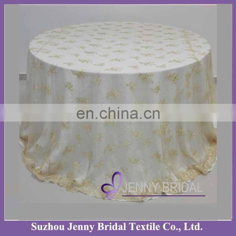 TL002D champagne wedding round lace tablecloths