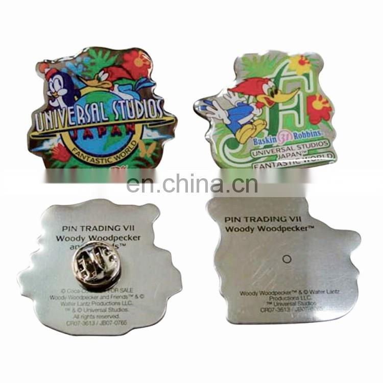 Wholesale Custom logo design metal iron clothing badge for working clothes school uniform