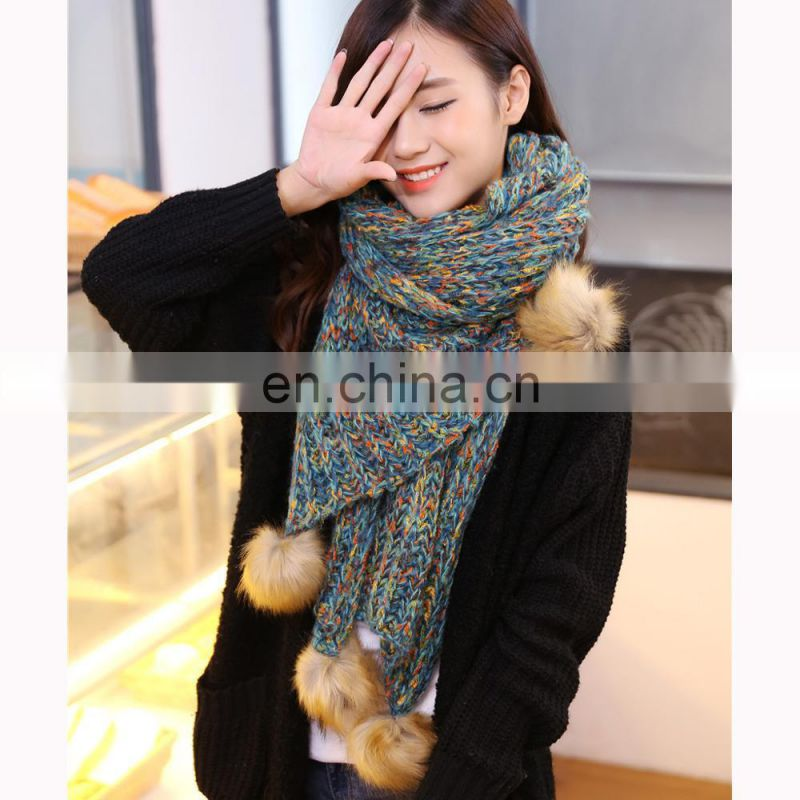 knitted scarf 220*60cm with 2*10cm fringe 2017 new design woman scarf two-face pattern scarf
