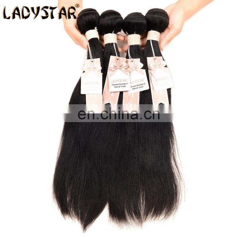 2017 hot sell human hair bundles with closure 3pcs virgin hair weave bundles and 1 pcs 4*4 lace lcosure all thickness end