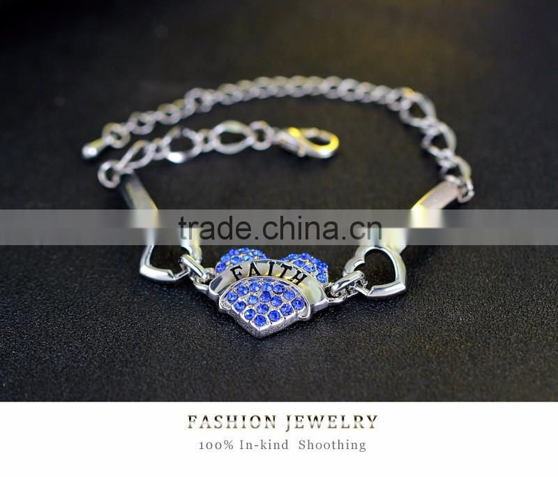 New Fashion FAITH Letter Jewelry Mom Sister Daughter Bracelet FAITH Heart Shape Beads Crystal Rhinestone For Women Gifts