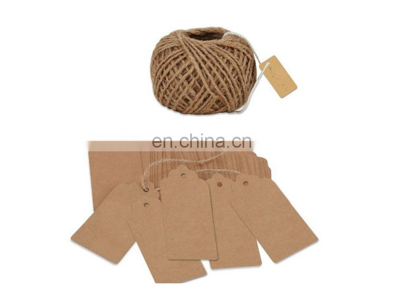 twine retangle kraft paper blank christmas gift tags with string natural jute gift tag wedding favor hang tags