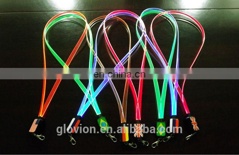 Glovion Hot sale LED flashing colorful TPU lanyards for party