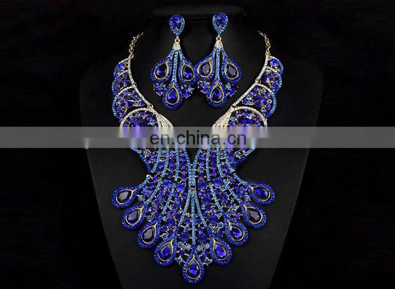 2017 rhinestone jewelry set with earingshandwork crystal necklaceroyal blue parry jewelry set for lady