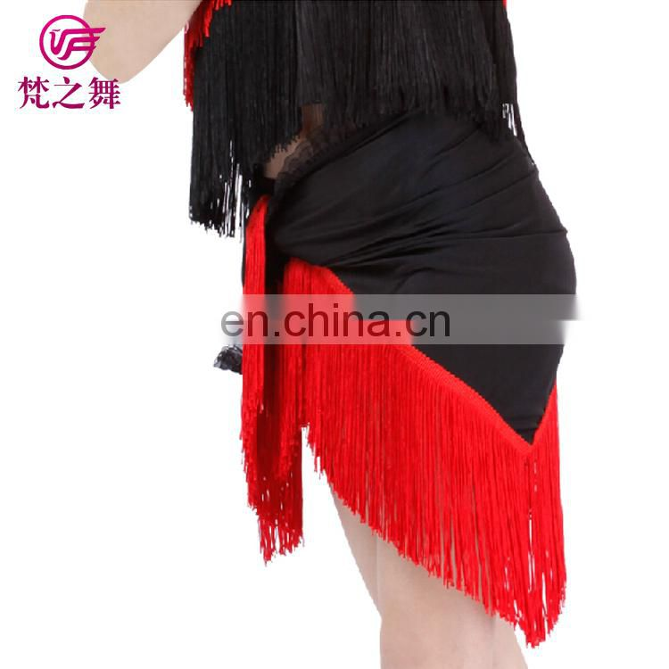 Three-piece camisole ballroom fringe kids girl latin dance dress with top and pant and scarf ET-092