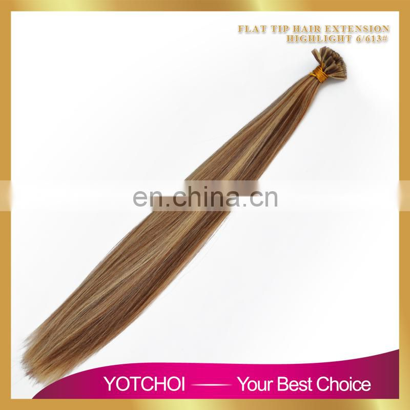 Hot Selling Double Drawn Thick Bottom 8a grade virgin russian hair u tip blond
