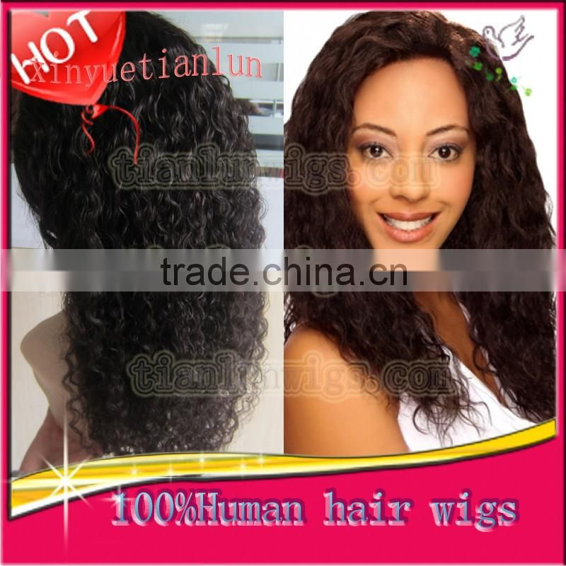 2014 New Products, Spanish Curl Full Lace wigs,Supply 5A Grade Human Hair Wig Full Lace Wigs For Black Women Stock