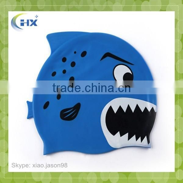 Kids funny Shark Silicone Swimming Cap