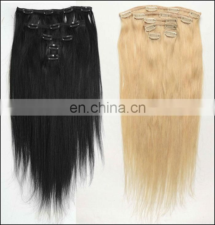 Clip On Hair Pieces 100% 613 Color Human Hair Clip In Extensions 160g