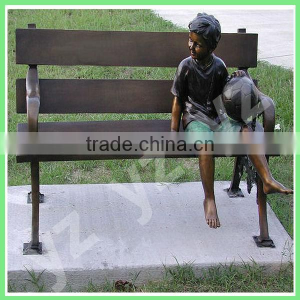 casting outdoor garden bronze boy sitting on the bench sculpture