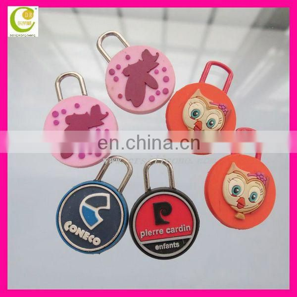 Hot design silicone zipper pull from factory, zipper pvc clothes zipper slider for bags