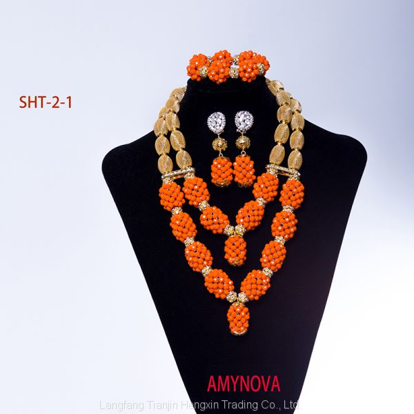 Nigerian beads necklace jewelry set wholesale dubai jewelry