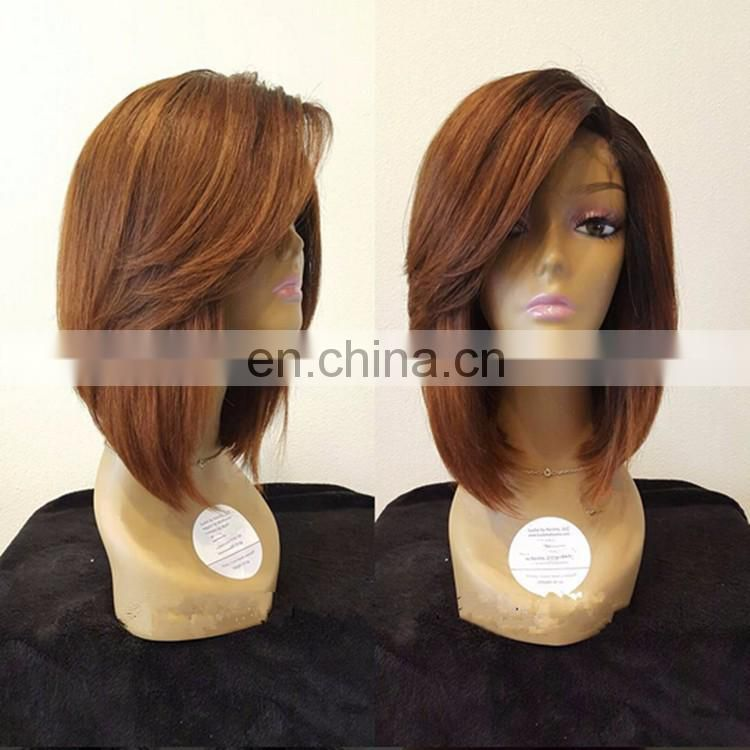 Glueless Ombre Side Bang Short Bod Lace Front Wig Small Medium Cap Size In Stock Honey Blonde Remy Human Hair 1BT30 Color