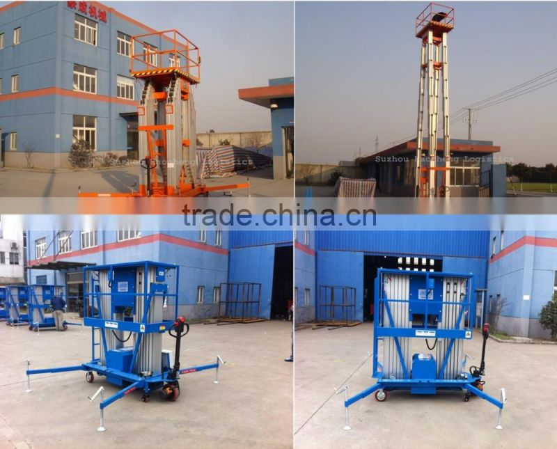 Aluminum Alloy Aerial Maintenance Working Table 10M Mobile Mast Battery Power Hydraulic Lifting Platform