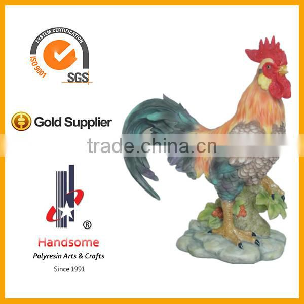 9''H resin lifelike rooster crafts, resin chicken statue