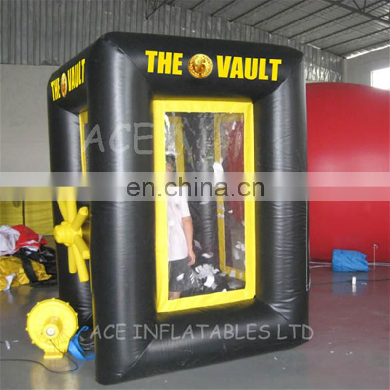 high quality cheap cube inflatable money Grabber Machine booth for Advertisement