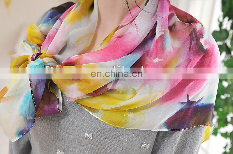 Ladies Digital Printed Square Silk Chiffon Scarf