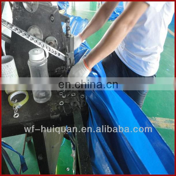 waterproof double color PE tarpaulin with aluminium eyelet