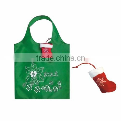 Low cost high quality reusable Christmas Theme polyester shopping bag