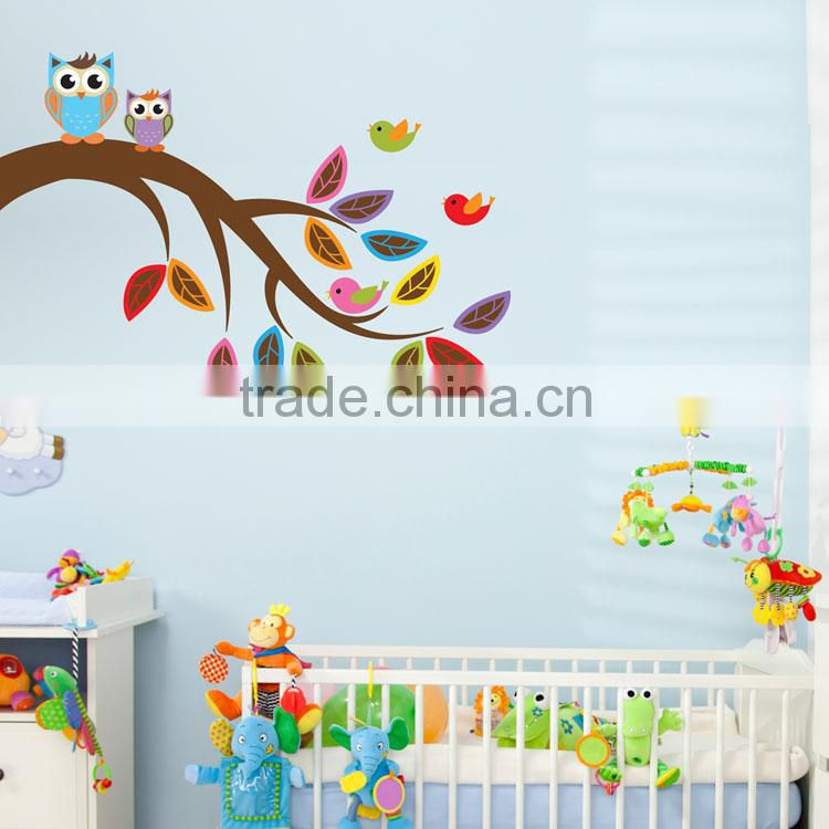 Promotional DIY cute animal nursery wall decals eco-friendly waterproof self-adhesive decorative wall sticker tree wall sticker