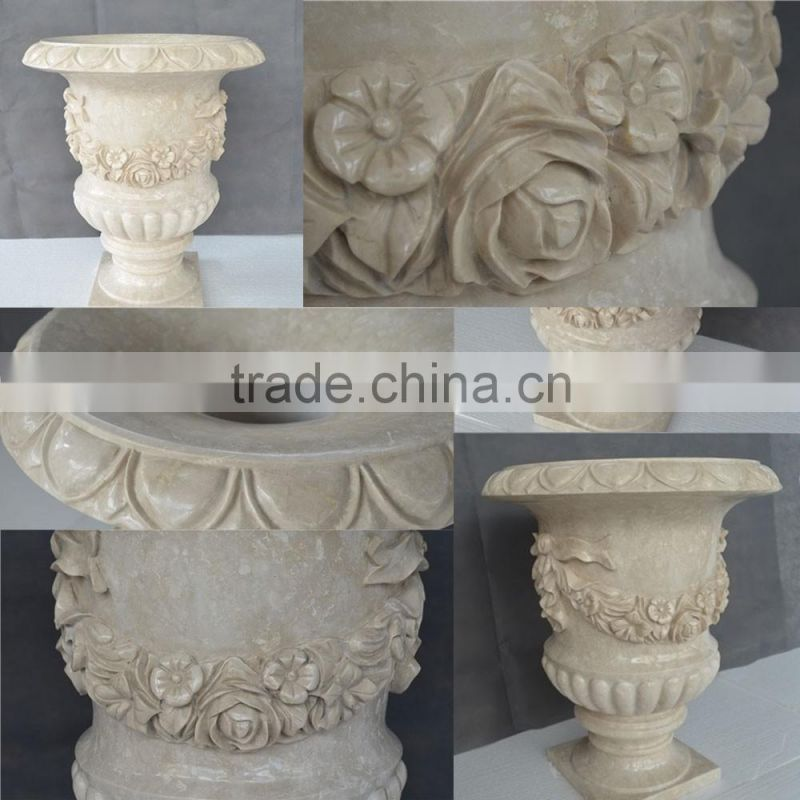 High polished hand-carved yellow marble flowerpot with matel decoration NTMF - FP013L