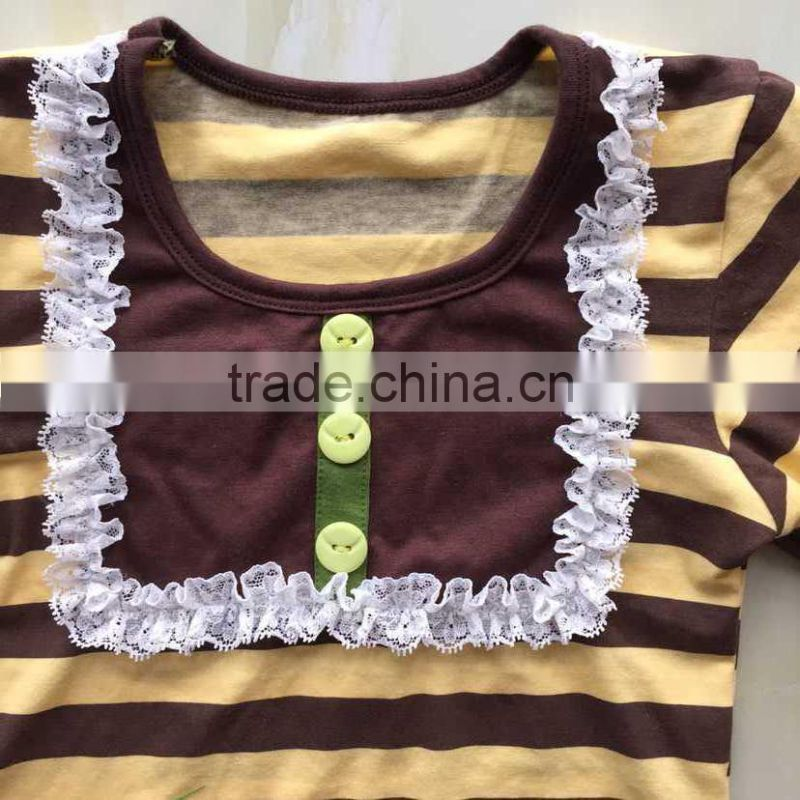 XF-008 Little girls wholesale easter's day boutique stripe yellow and brown outfits