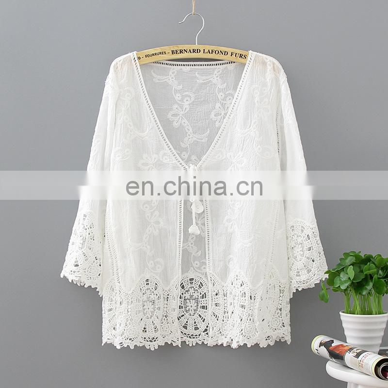 Pareo Beach Cover Up Embroidery 2017 Bikini Swimsuit Cover Up Robe De Plage Beach Wear Cardigan Swimwear Bathing Suit Cover Up