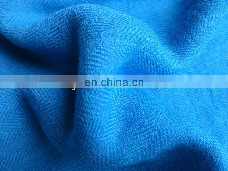 Worsted woven 95S/2 *60S/1 herringbone silk wool fabric for scarf