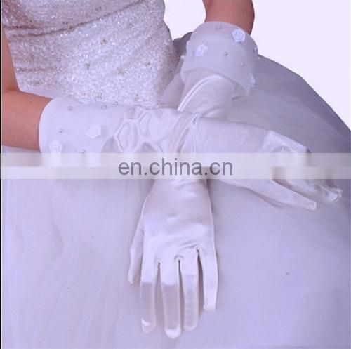 Ivory Satin Full Finger Bridal Glove With Organza Cuff Satin Rose Appliqued And Pear Beaded Hand Made Midi-length Wedding Glove