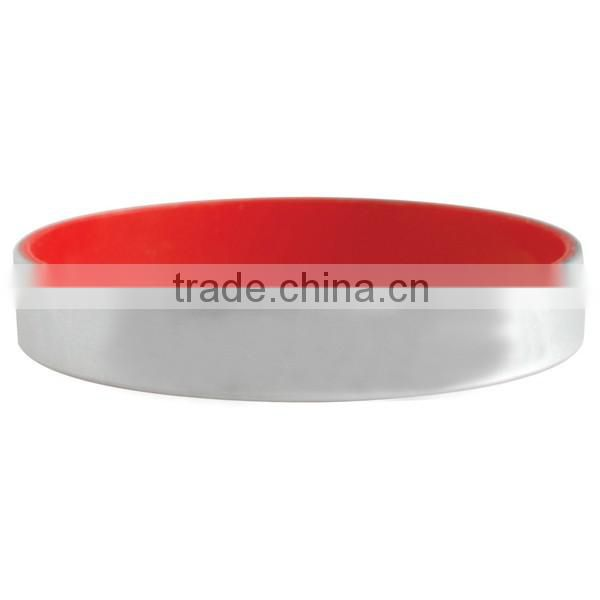 Multi Color choices Silver Silicone band