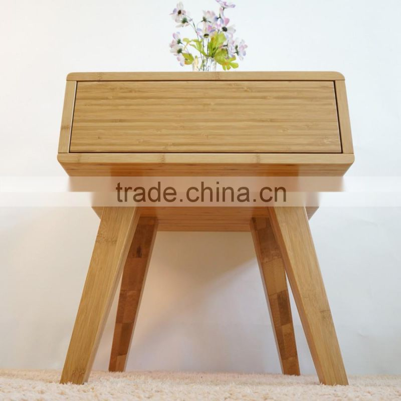 Home bamboo furniture living room corner sidetable with drawer