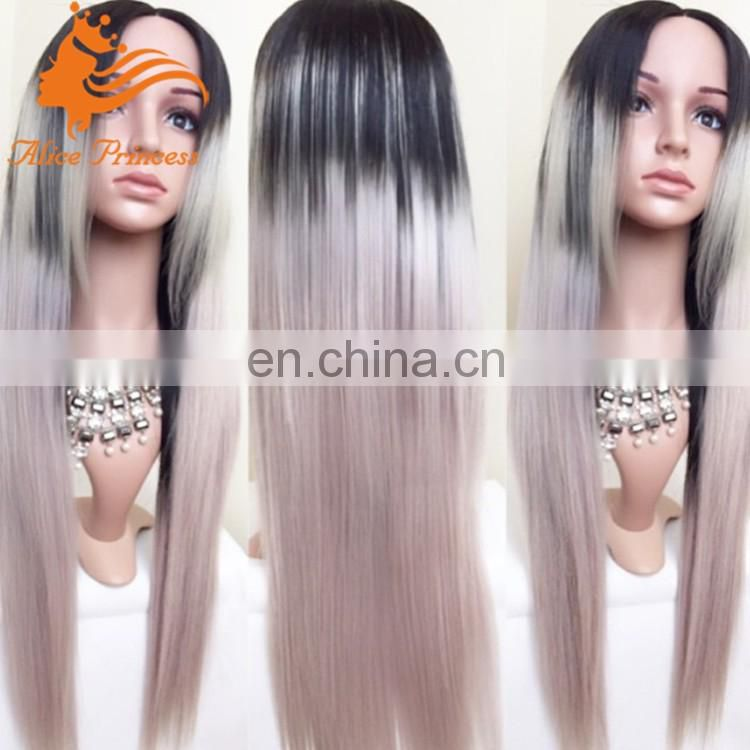 straight lace front wig brazilian human hair for black woman ombre human hair gray wig on sale