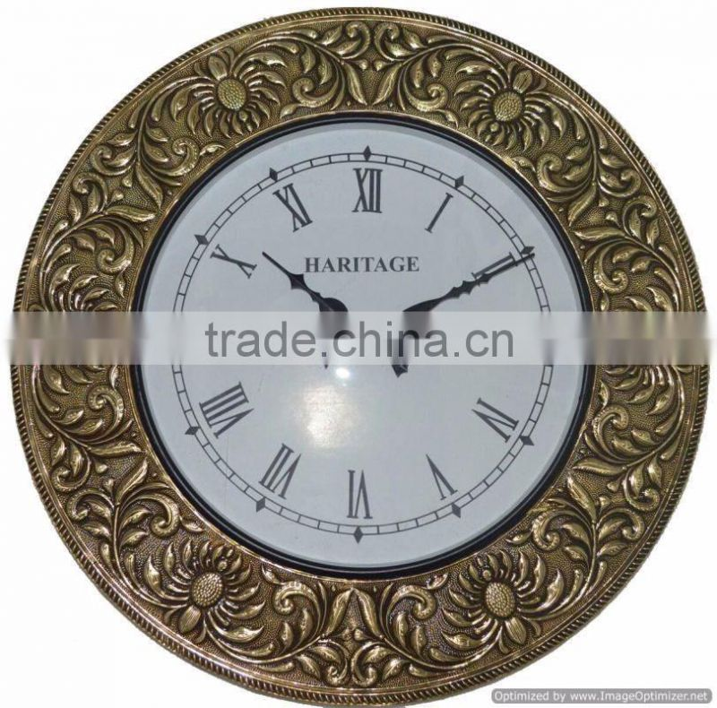 mosiac metal iron antique fancy wall clock