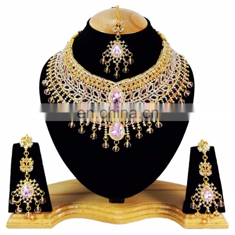Beautiful Designer Gold Plated Bollywood Party wear Jewelry Necklace Set Baby Pink Color