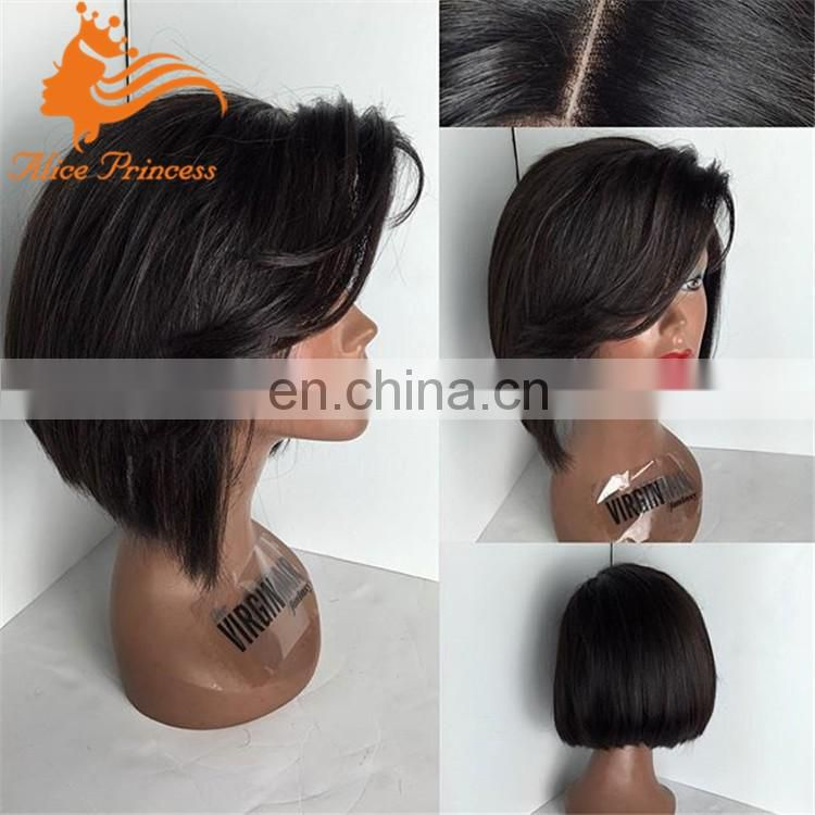 10 inch brazilian hair lace front wig with bangs straight short cut bob human hair wigs bob wig lace front