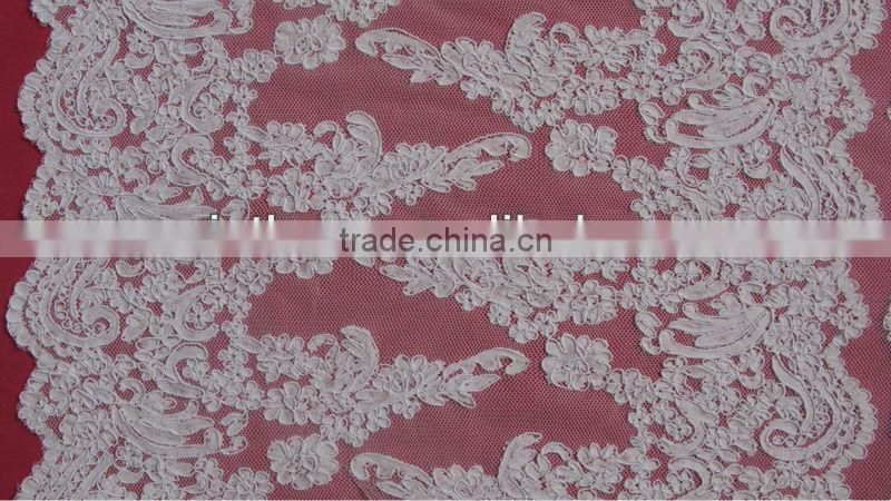 Wide Tulle Mesh French Trim Lace With Cord