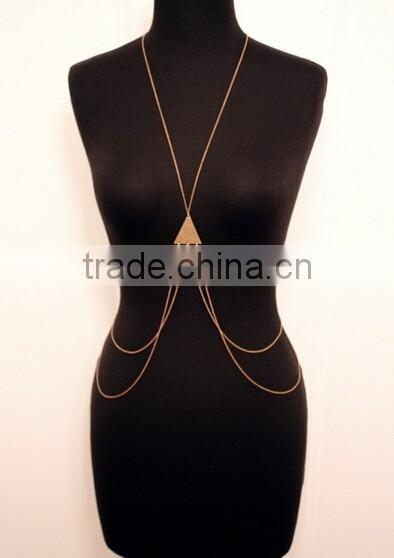 Newest Body Jewelry Triangle Pendant Two Layers Crossover Belly Body Chain ,Plated Body Chain