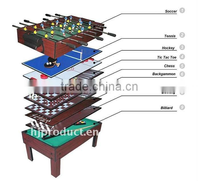 Factory promotion Hot selling 9 in 1 Multi games table. Billiard table, chess, tic tac toe, shuffleboard, push hockey table, etc