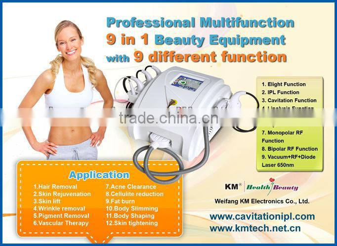 multifunctional laser hair removal machine with cavitation+mono/bi/tripolar+vacuum