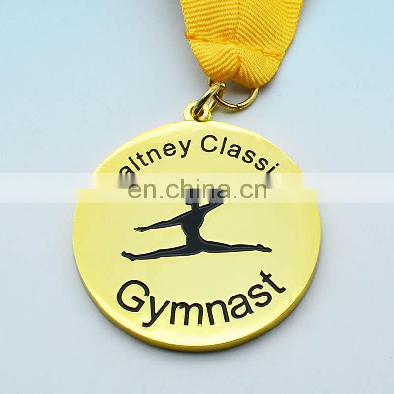 oem promotion cheap soft enamel logo sport gold gymnastics medal display