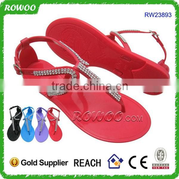 hot selling ladies fancy flat sandal pvc jelly fashion sandals