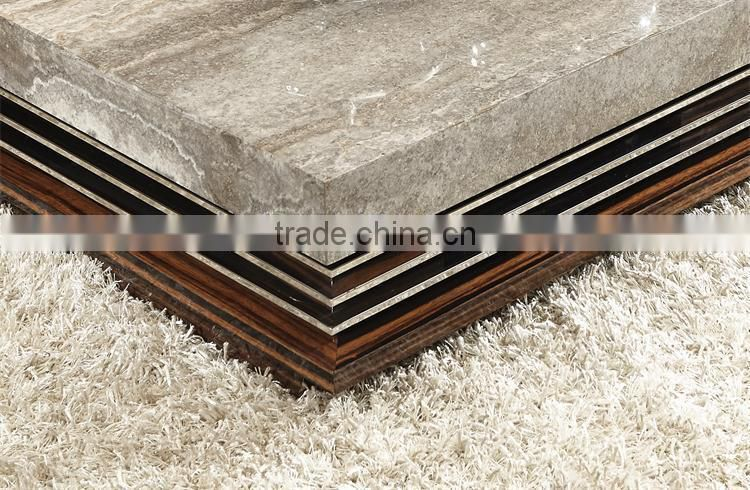 modern marble/travertine top living room coffee table with hardware