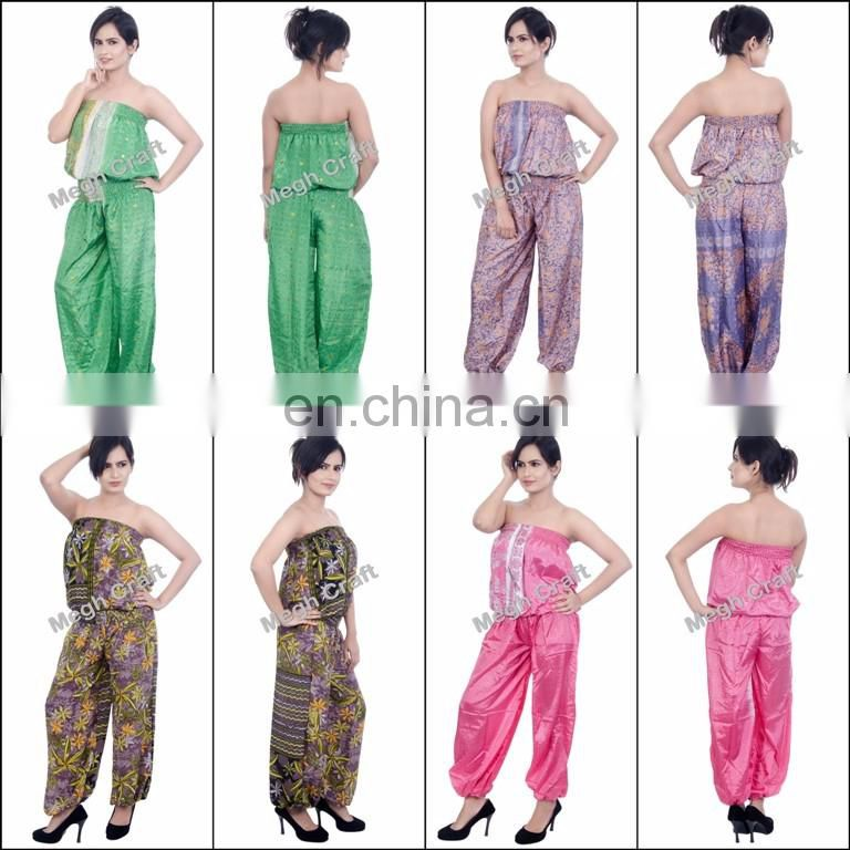 floral printed jumpsuit for lady Harem Pants-Baggy Jumpsuit -Purple Silk Aladdin Style Jumpsuit -Indian Fashion Wear Jumpsuits